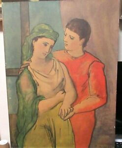 """PICASSO """"THE LOVERS"""" OLD COLOR LARGE LITHOGRAPH UNFRAMED"""