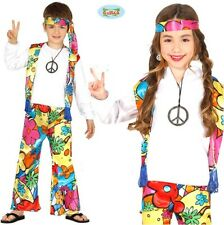 Childs 1960s Hippy Fancy Dress Costume Kids 60s 60's 1960's Hippie Outfit fg