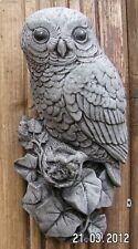 Owl on a Branch Wall Plaque Stone Garden Ornament Hand Cast 10x8x21 cms  1.2 Kg