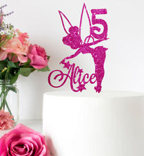 Tinkerbell / Fairy Glitter Cake Topper Personalised With Any Name & Age
