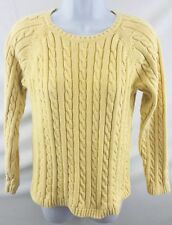 L.L. Bean Womens Size Med. Regular Pastel Yellow Chunk Cable Sweater 100% Cotton