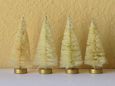 "Bottle Brush CHRISTMAS Village Putz ~ 3"" Natural Sisal Tree Set of 4 Trees"