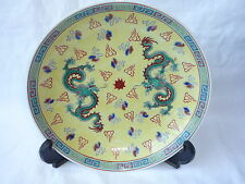 Chinese Porcelain Painted Dragons Yellow Plate - Marks