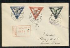 Latvia Cb6a-8a Complete Imperf semi-postal Airmail Triangle set on reg cover, Vf