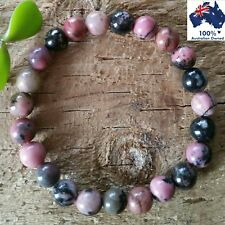 RHODONITE Bracelet Chakra Crystal Healing 100% Natural Gemstone Worry Bead Stone