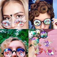 Festival Rave Kaleidoscope Rainbow Round Prism Diffraction Crystal Lens Glasses