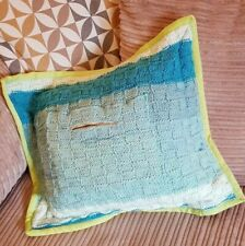 Handmade Knitted Cushion Light Blue GREEN Trim Zip Pocket One Of A Kind Upcycled