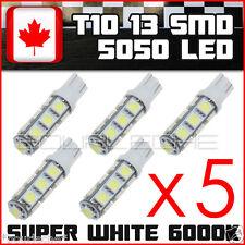 5x Super White T10 Camper 13-SMD 5050 Car Side Wedge LED Light Bulbs interior