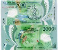 Vanuatu 2000 Vatu 2014 AA PREFIX P 14 POLYMER UNC