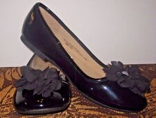 New~Children Place~Black~Patent~Shoes~Tulle Flower~Jewel Accent~size 4~Yth Girl!