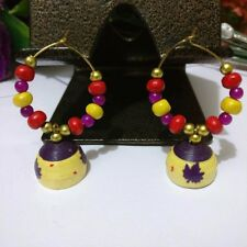 MULTICOLOR HANDMADE INDIAN STYLE WOODEN EARRINGS #NAVRATRI SPECIAL