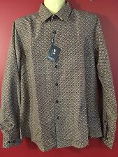 ROSSO MILANO Italy Men's Rust modern Fit Dress Shirt - Size L (16.5) NWT $179