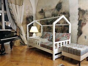 Bett für Kinder, Hausbett, FARBE, Kinderhaus, Sicherheitbarrieren, 7 Tage