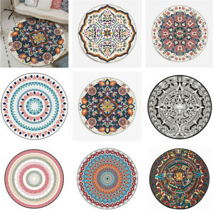 Lotus Round Soft Yoga Mat Rugs Floor Bathmat Rug Non-slip Carpet Mandala Lilies