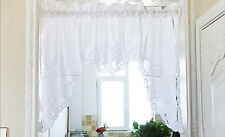 Beautiful Ribbon Rose Embroidery Hemstitch Cutwork Cotton Curtain Swag White