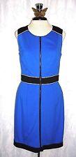 Women's Cynthia Steffe Nordstrom Blue Black Zip Front Sheath Dress 6 Small $295