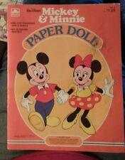 1983 Vtg Walt Disney's MICKEY & MINNIE Paper Doll Book UNCUT Golden Book/Western