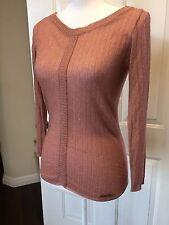 Dolce & Gabbana Dusty Rose Metallic Thin Ribbed Stretch Sweater- 40 US 6