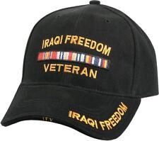 Black Iraqi Freedom Veteran Deluxe Low Profile Baseball Hat Cap