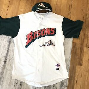 Vintage Buffalo Bisons Sliding Buster Bundle Baseball Jersey And Hat Green 90s
