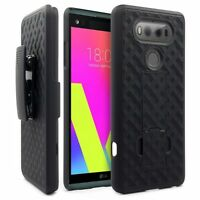 For LG V20 - BLACK HARD SHELL COVER COMBO CASE DEFENDER HOLSTER CLIP KICKSTAND