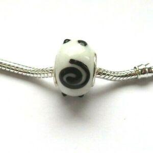 MURANO Glass Bobble Lampwork Bead WHITE BLACK for European Charm Bracelet