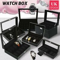 6/10//20/24 Grid Slots Watch Box Leather Jewelry Display Collect Storage Case UK