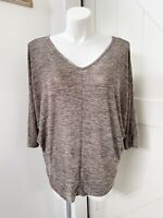 Lane Bryant Brown Black Knit V Neck 3/4 Sleeve Top Women's Plus Size 18/20