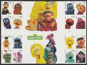 US 5394 Sesame Street forever cross gutter block (16 stamps) MNH 2019