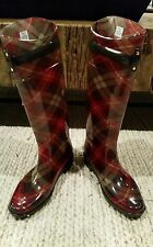 *NEW* Polo Ralph Lauren Women's Rossalyn II Rain Boots Brown Sage Plaid Size 7B
