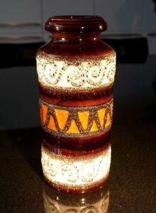 Beautiful Vintage West German Large Fat Lava Vase