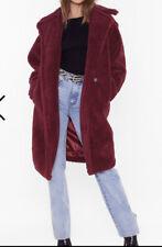 Nasty Gal Oversize Warm Love Faux Fur Coat Berry Uk Size S
