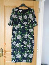 Hobbs Vestido de Seda de Manga Corta, Talla 14, diseño floral en azul marino, una vez usado