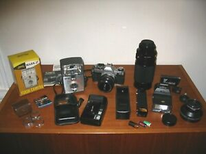LARGE MIXED LOT PHOTOGRAPHY EQUIPMENT, Cameras, Lenses, Flash Attachment, etc.