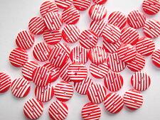 50 X 12 mm ronda Resina Rojo/blanco Rayas Botones - 2 Orificios