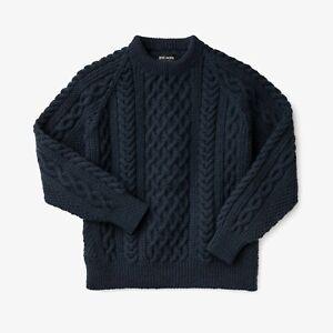 Filson Wool Fisherman's Sweater Charcoal 100% Irish Wool, Men's XL NWT Navy