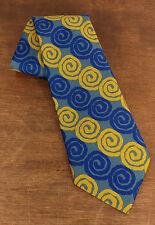 Vintage John Blair Mens Yellow Blue Tie Necktie