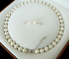 8mm White Akoya Cultured Shell Pearl Necklace Earring Set 18'' AAA  04