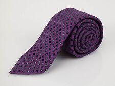 New Imperfect ERMENEGILDO ZEGNA Purple With Floral Pattern Wool Neck Tie $205