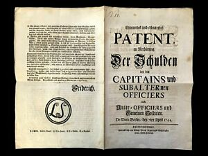 1744 MILITARY DEBTS PROTECTION issued by Friedrich The Great King of Prussia