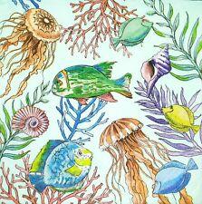 3x Single Paper Napkins For Decoupage Craft Tissue Ocean Sea Fish Jellyfish N352