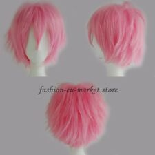 Unisex Anime Fashion Short Layer Wig Cosplay Full Wigs Halloween White Purple US