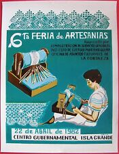 Isabel Bernal 6 Feria Artesanias Poster Cartel Isla Grande Offset  Puerto Rico