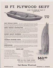 1950s AD SHEET #2769 - TAFT MARINE READY CUT BOAT KIT - 12 FT PLYWOOD SKIFF