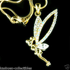 New TINKERBELL w Swarovski Crystal Gold Plated Fairy Angel Wing Pendant Necklace