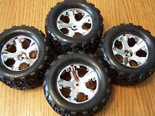 4 Traxxas Stampede 2wd Front Rear Talon Tires & 2.8 Chrome 12mm Wheels XL-5 VXL