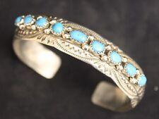 Damen Navajo Armspange mit 9 Arizona Türkis Nuggets 925% Silber Indianerschmuck