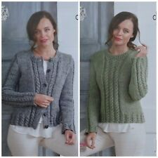 KNITTING PATTERN Ladies Cable Rib Cardigan & Jumper Chunky Tweed King Cole 5013