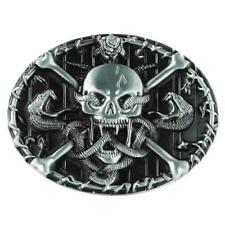 Vintage argent tête de crâne squelette serpent ceinture boucle cowboy punk