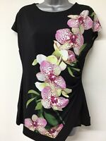 Ladies Wallis Size 10 Black Floral Top Blouse Shirt Tunic (682a)